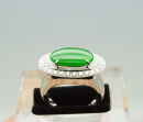 A Stunning Natural Intense Green Jadeite Jade Diamond Ring.
